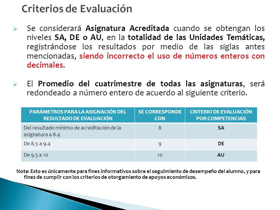 Se considerará Asignatura Acreditada cuando se obtengan los niveles SA, DE o AU, en la totalidad de las Unidades Temáticas, registrándose los resultados por medio de las siglas antes mencionadas, siendo incorrecto el uso de números enteros con decimales.