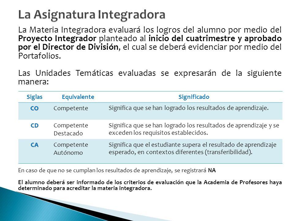 La Materia Integradora evaluará los logros del alumno por medio del Proyecto Integrador planteado al inicio del cuatrimestre y aprobado por el Director de División, el cual se deberá evidenciar por medio del Portafolios.