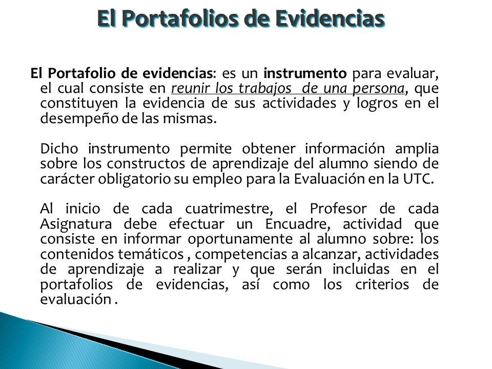 El Portafolio de evidencias: es un instrumento para evaluar, el cual consiste en reunir los trabajos de una persona, que constituyen la evidencia de sus actividades y logros en el desempeño de las mismas.