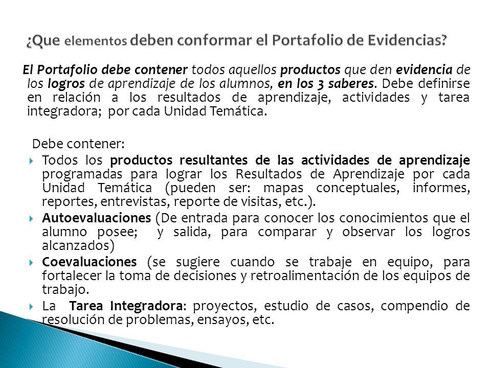 El Portafolio debe contener todos aquellos productos que den evidencia de los logros de aprendizaje de los alumnos, en los 3 saberes.