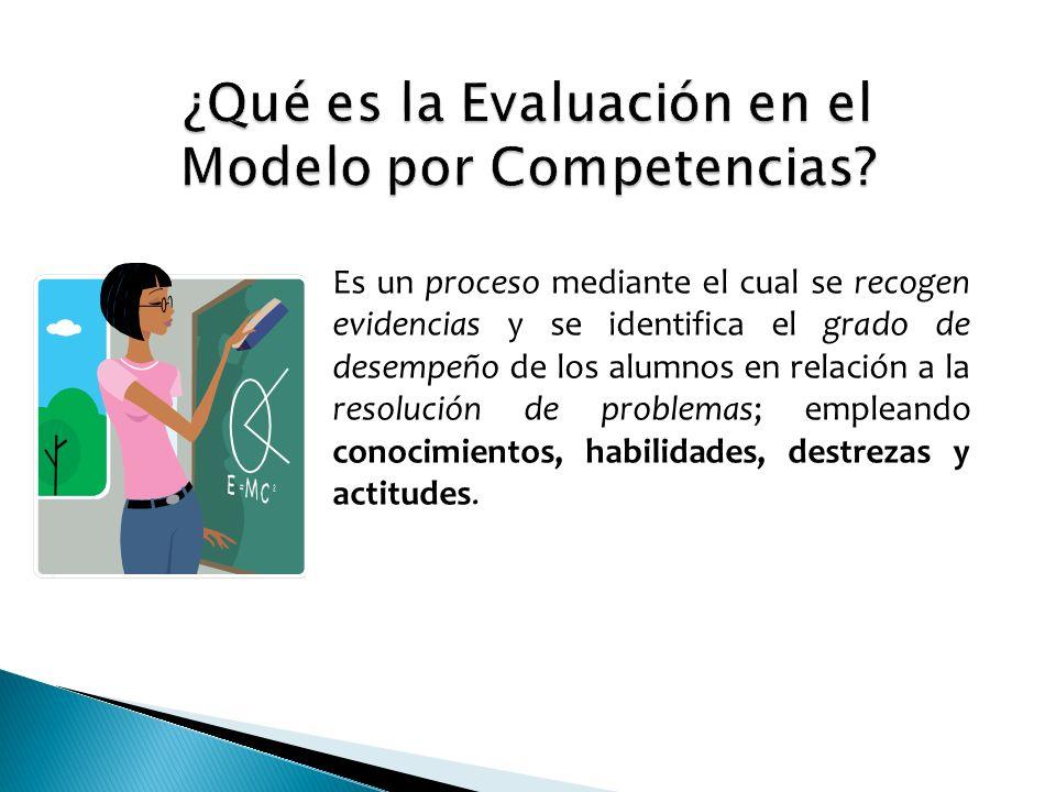 Es un proceso mediante el cual se recogen evidencias y se identifica el grado de desempeño de los alumnos en relación a la resolución de problemas; empleando conocimientos, habilidades, destrezas y actitudes.