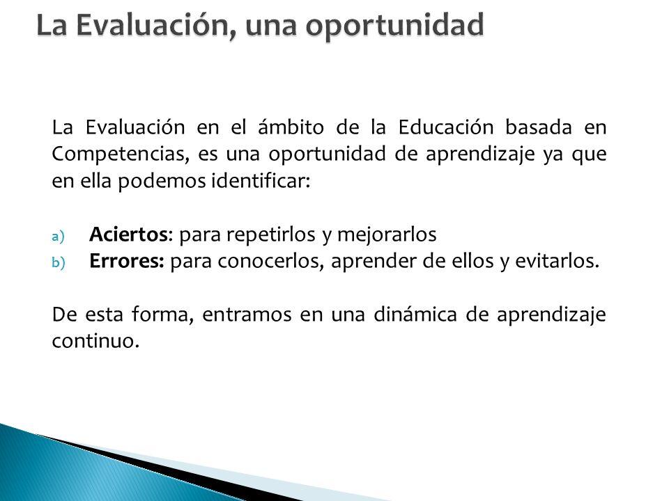 La Evaluación en el ámbito de la Educación basada en Competencias, es una oportunidad de aprendizaje ya que en ella podemos identificar: a) Aciertos: para repetirlos y mejorarlos b) Errores: para conocerlos, aprender de ellos y evitarlos.