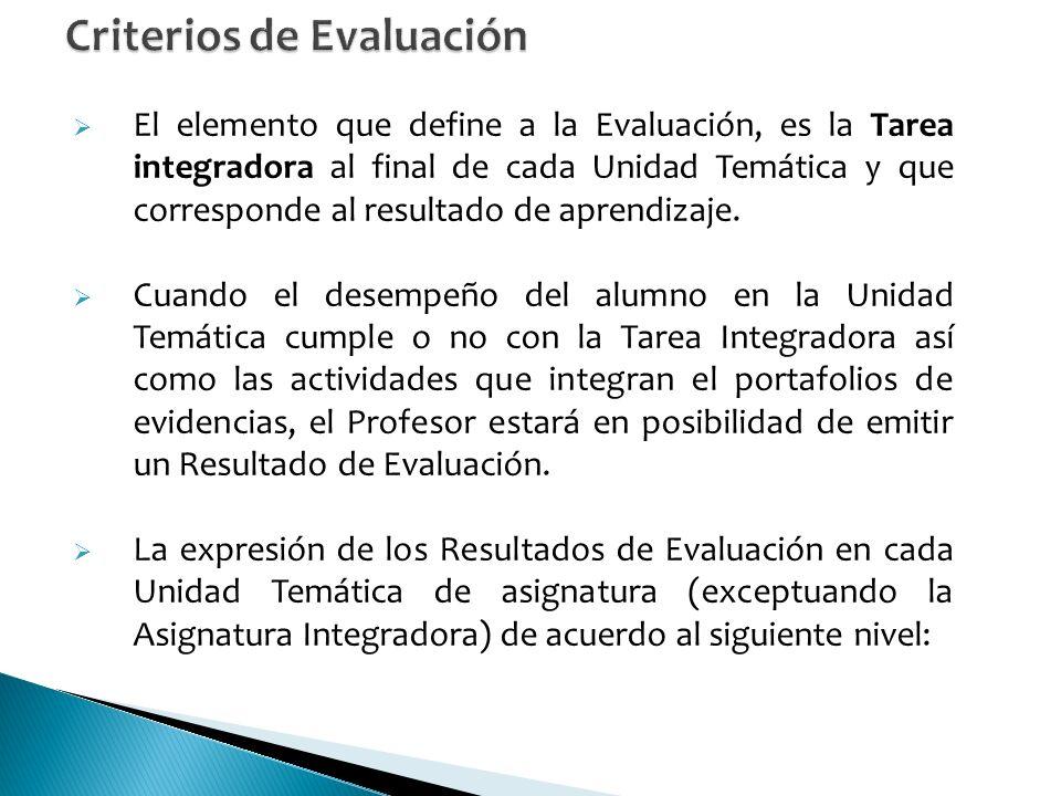 El elemento que define a la Evaluación, es la Tarea integradora al final de cada Unidad Temática y que corresponde al resultado de aprendizaje.