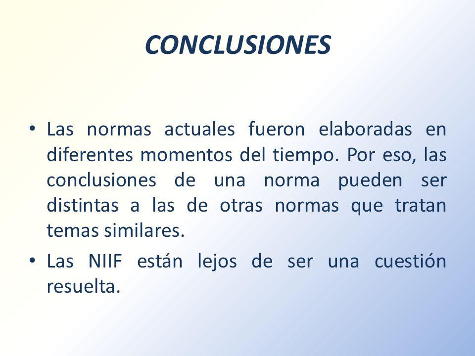 CONCLUSIONES Las normas actuales fueron elaboradas en diferentes momentos del tiempo. Por eso, las conclusiones de una norma pueden ser distintas a la