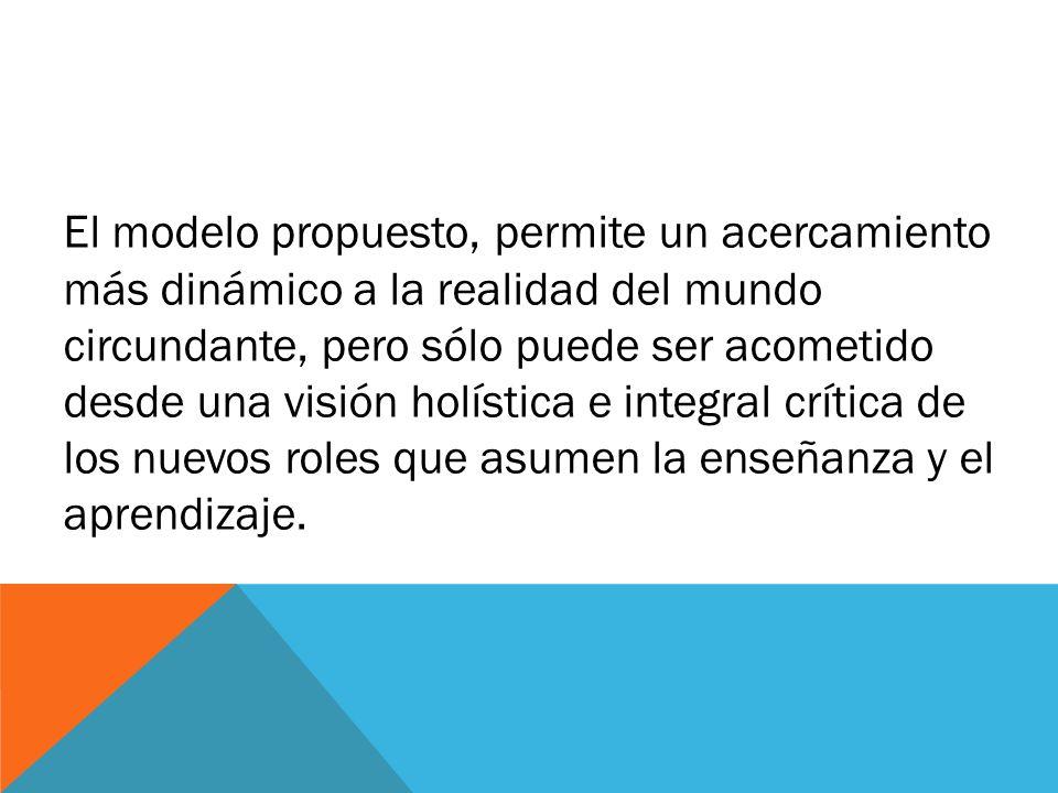 El modelo propuesto, permite un acercamiento más dinámico a la realidad del mundo circundante, pero sólo puede ser acometido desde una visión holístic