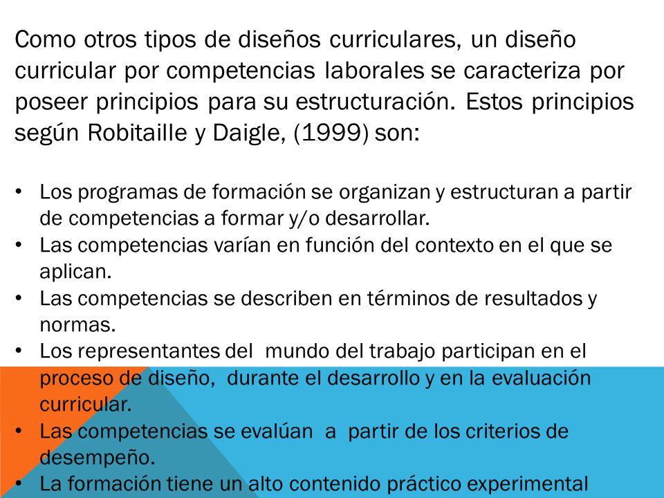 Como otros tipos de diseños curriculares, un diseño curricular por competencias laborales se caracteriza por poseer principios para su estructuración.