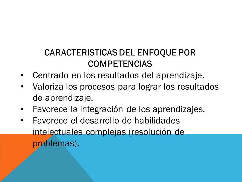 CARACTERISTICAS DEL ENFOQUE POR COMPETENCIAS Centrado en los resultados del aprendizaje. Valoriza los procesos para lograr los resultados de aprendiza