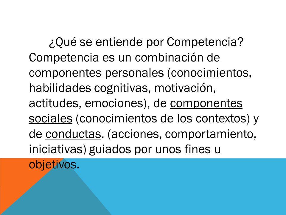 ¿Qué se entiende por Competencia? Competencia es un combinación de componentes personales (conocimientos, habilidades cognitivas, motivación, actitude