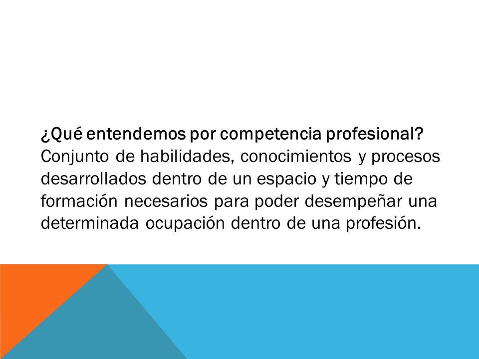 ¿Qué entendemos por competencia profesional? Conjunto de habilidades, conocimientos y procesos desarrollados dentro de un espacio y tiempo de formació