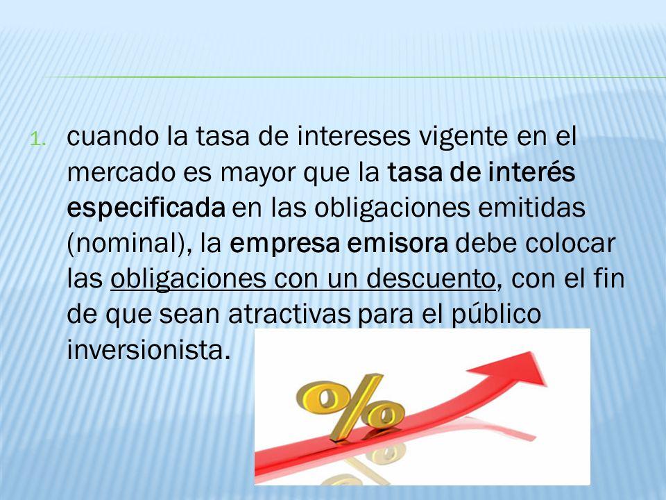 1. cuando la tasa de intereses vigente en el mercado es mayor que la tasa de interés especificada en las obligaciones emitidas (nominal), la empresa e