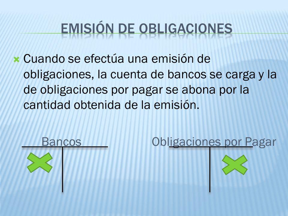 Cuando se efectúa una emisión de obligaciones, la cuenta de bancos se carga y la de obligaciones por pagar se abona por la cantidad obtenida de la emi
