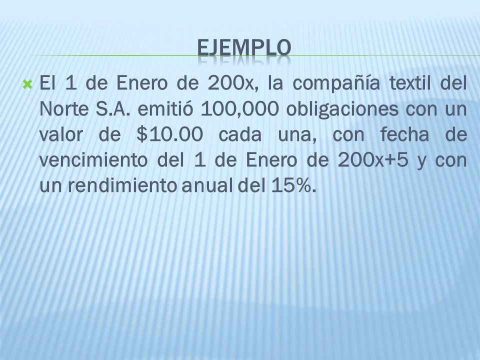 El 1 de Enero de 200x, la compañía textil del Norte S.A. emitió 100,000 obligaciones con un valor de $10.00 cada una, con fecha de vencimiento del 1 d