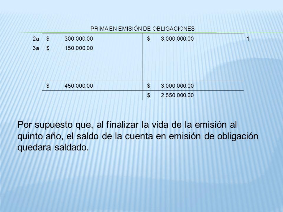 PRIMA EN EMISIÓN DE OBLIGACIONES 2a $ 300,000.00 $ 3,000,000.001 3a $ 150,000.00 $ 450,000.00 $ 3,000,000.00 $ 2,550,000.00 Por supuesto que, al final