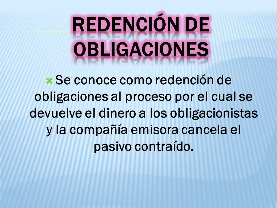 Se conoce como redención de obligaciones al proceso por el cual se devuelve el dinero a los obligacionistas y la compañía emisora cancela el pasivo co
