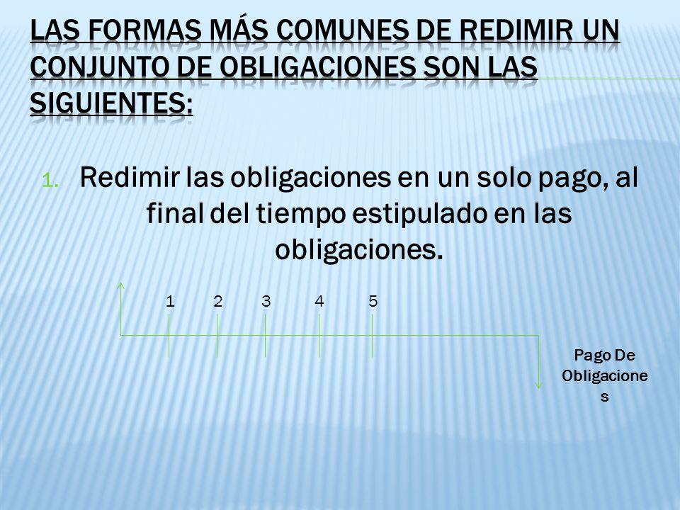 1. Redimir las obligaciones en un solo pago, al final del tiempo estipulado en las obligaciones. Pago De Obligacione s 12345