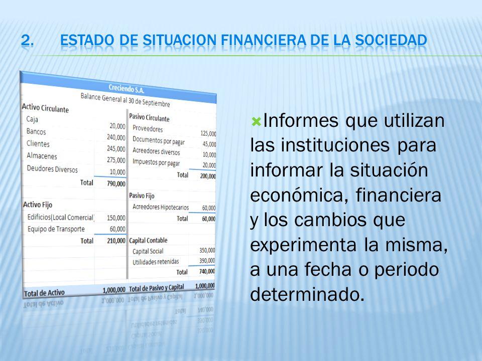 Informes que utilizan las instituciones para informar la situación económica, financiera y los cambios que experimenta la misma, a una fecha o periodo