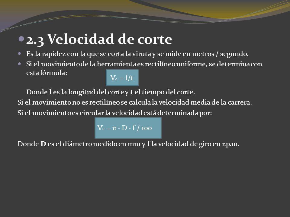 2.3 Velocidad de corte Es la rapidez con la que se corta la viruta y se mide en metros / segundo. Si el movimiento de la herramienta es rectilíneo uni