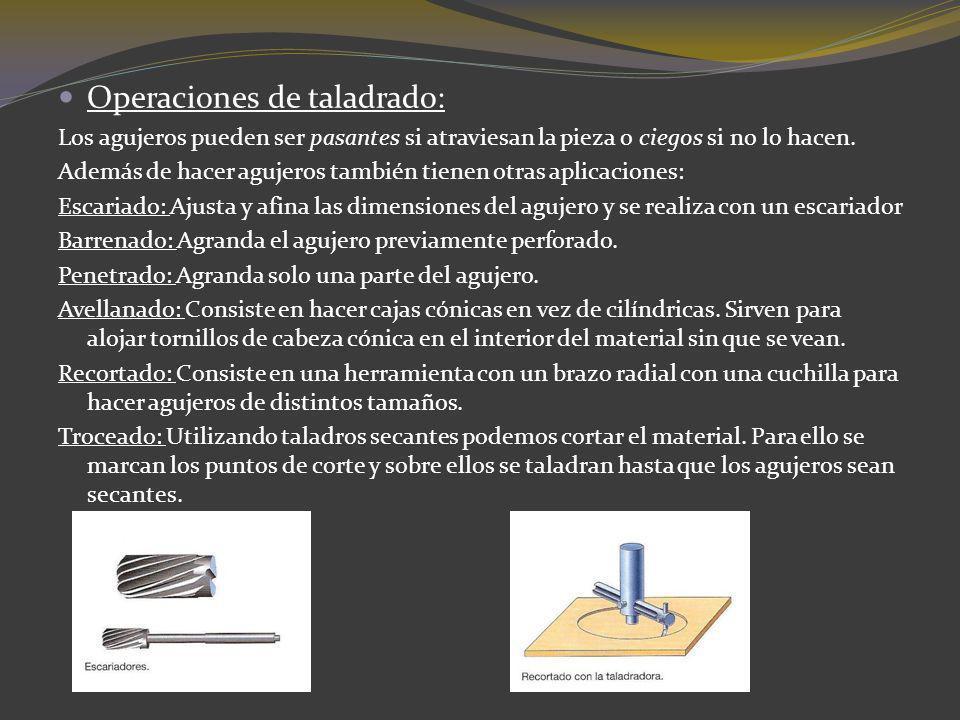 Operaciones de taladrado: Los agujeros pueden ser pasantes si atraviesan la pieza o ciegos si no lo hacen. Además de hacer agujeros también tienen otr