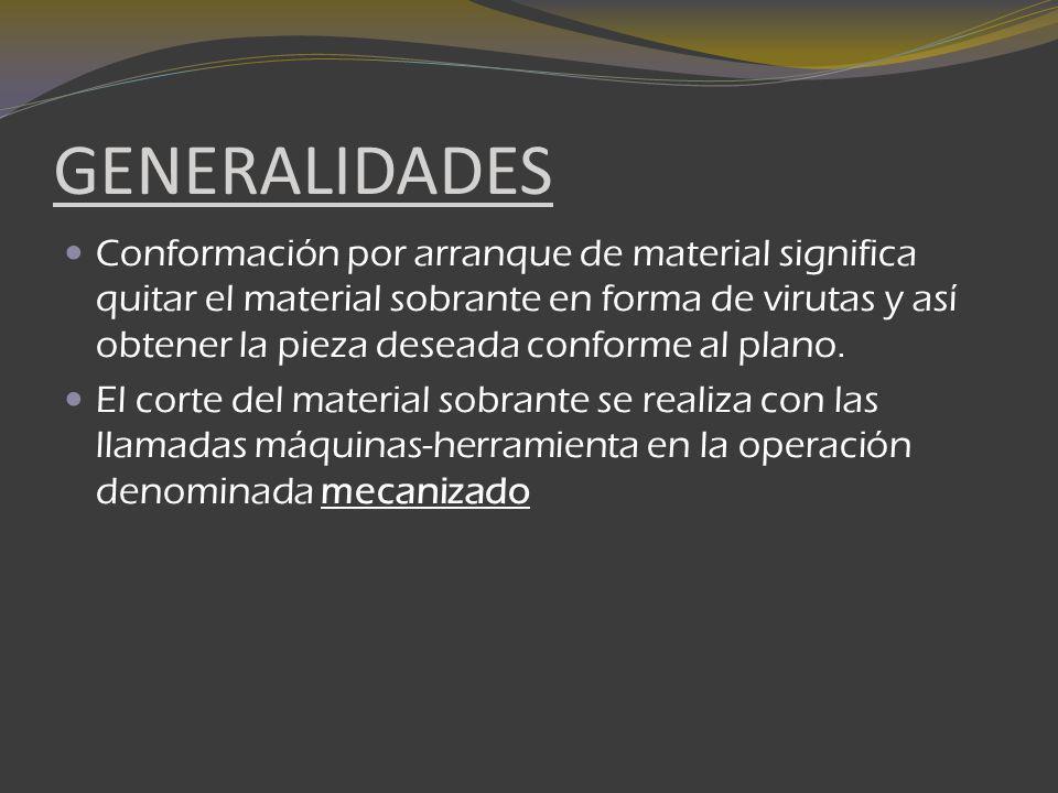 GENERALIDADES Conformación por arranque de material significa quitar el material sobrante en forma de virutas y así obtener la pieza deseada conforme