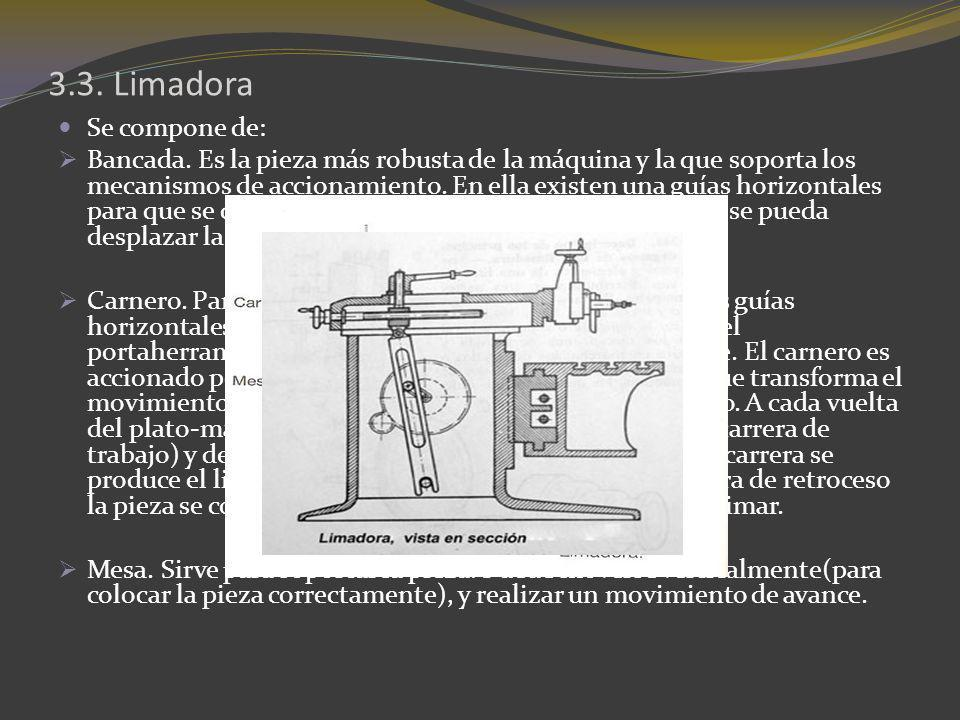 3.3. Limadora Se compone de: Bancada. Es la pieza más robusta de la máquina y la que soporta los mecanismos de accionamiento. En ella existen una guía