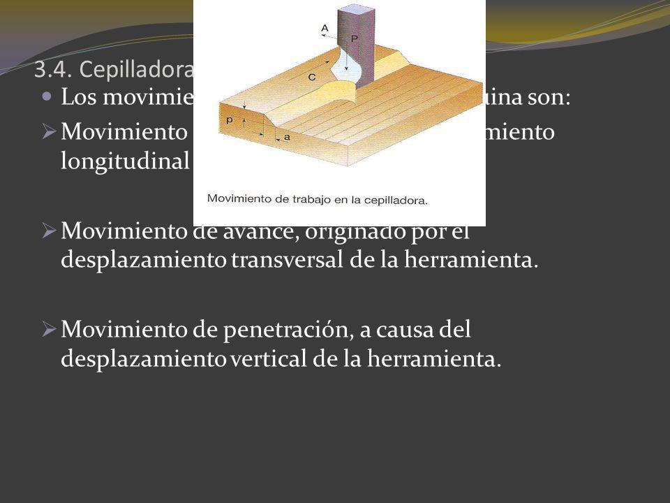 3.4. Cepilladora Los movimientos de trabajo de esta máquina son: Movimiento de corte, debido al desplazamiento longitudinal de la pieza. Movimiento de
