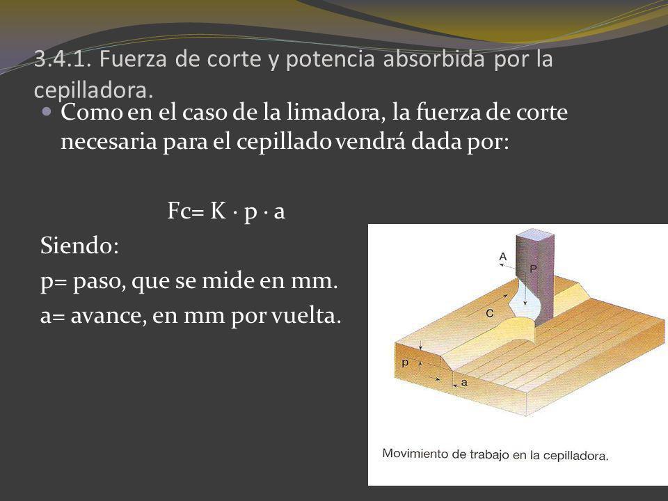 3.4.1. Fuerza de corte y potencia absorbida por la cepilladora. Como en el caso de la limadora, la fuerza de corte necesaria para el cepillado vendrá