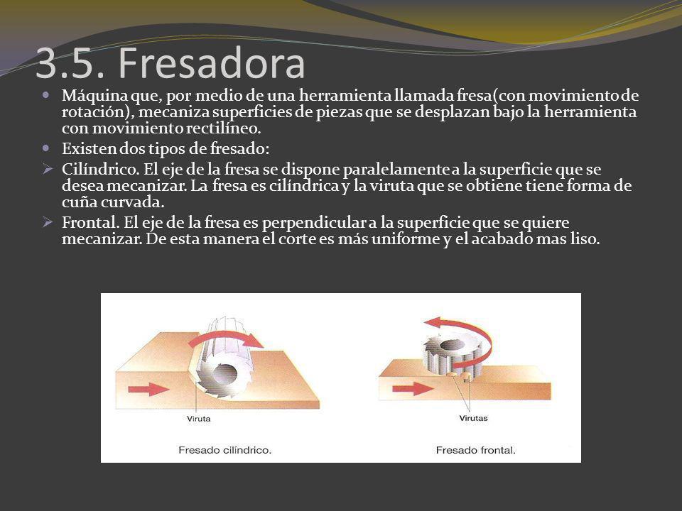 3.5. Fresadora Máquina que, por medio de una herramienta llamada fresa(con movimiento de rotación), mecaniza superficies de piezas que se desplazan ba