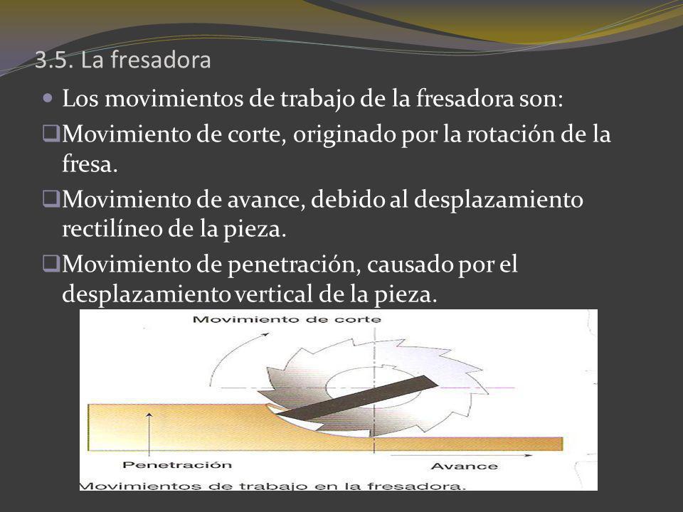 Los movimientos de trabajo de la fresadora son: Movimiento de corte, originado por la rotación de la fresa. Movimiento de avance, debido al desplazami