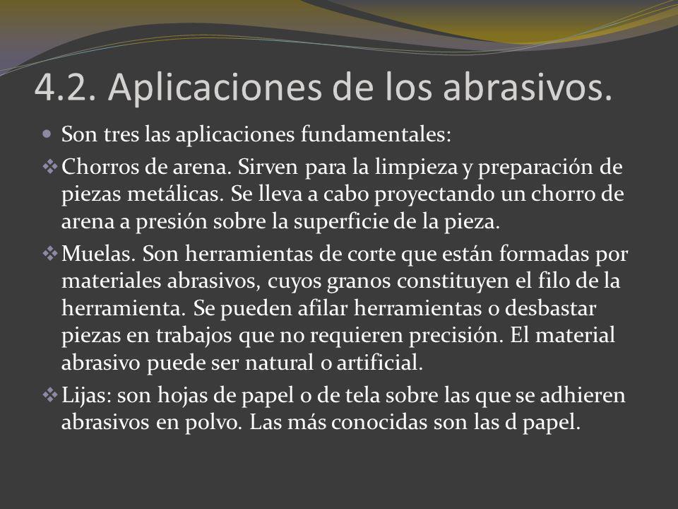 4.2. Aplicaciones de los abrasivos. Son tres las aplicaciones fundamentales: Chorros de arena. Sirven para la limpieza y preparación de piezas metálic