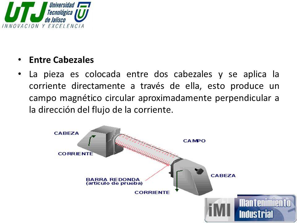 Entre Cabezales La pieza es colocada entre dos cabezales y se aplica la corriente directamente a través de ella, esto produce un campo magnético circular aproximadamente perpendicular a la dirección del flujo de la corriente.