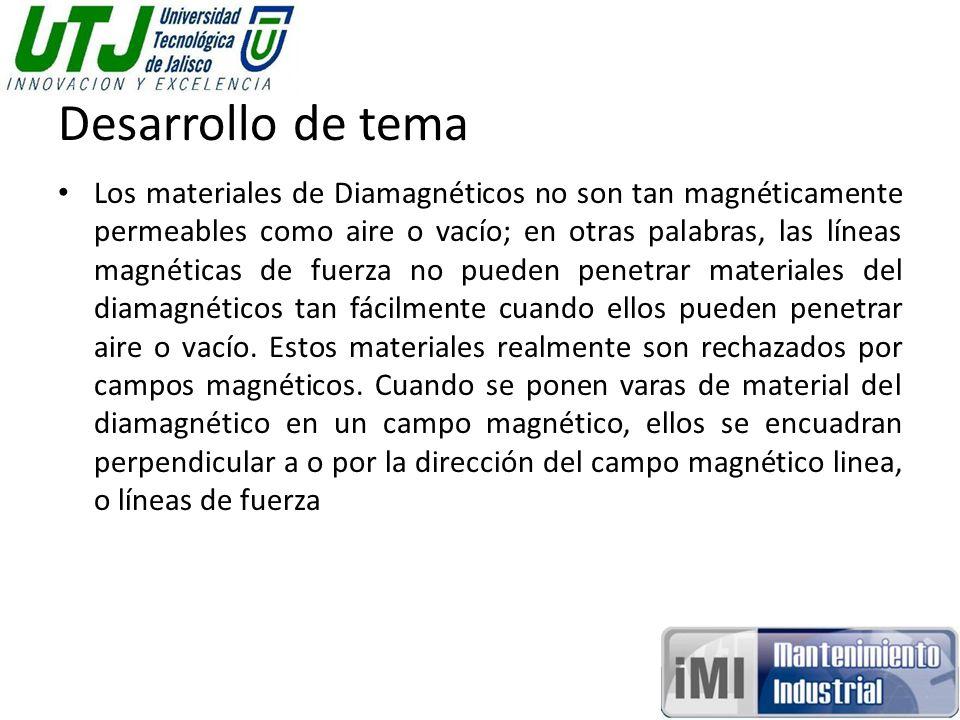 Desarrollo de tema Los materiales de Diamagnéticos no son tan magnéticamente permeables como aire o vacío; en otras palabras, las líneas magnéticas de