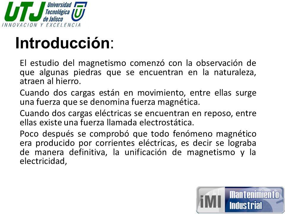 Introducción: El estudio del magnetismo comenzó con la observación de que algunas piedras que se encuentran en la naturaleza, atraen al hierro.