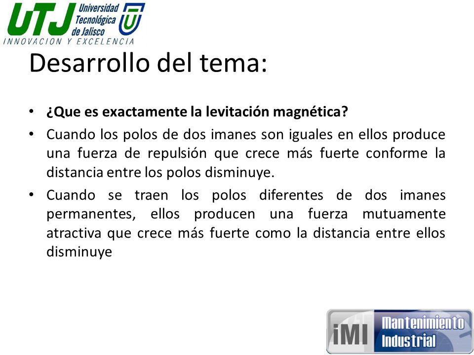 Desarrollo del tema: ¿Que es exactamente la levitación magnética? Cuando los polos de dos imanes son iguales en ellos produce una fuerza de repulsión