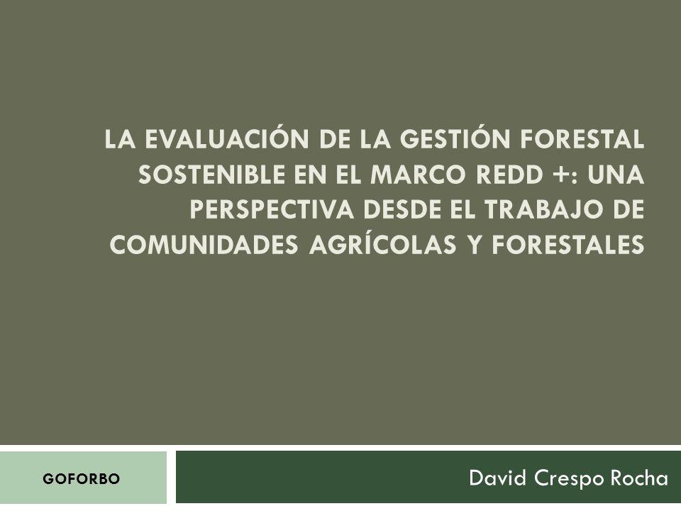 LA EVALUACIÓN DE LA GESTIÓN FORESTAL SOSTENIBLE EN EL MARCO REDD +: UNA PERSPECTIVA DESDE EL TRABAJO DE COMUNIDADES AGRÍCOLAS Y FORESTALES David Crespo Rocha GOFORBO