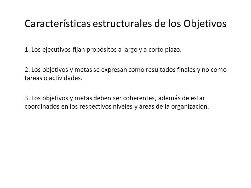 Características estructurales de los Objetivos 1. Los ejecutivos fijan propósitos a largo y a corto plazo. 2. Los objetivos y metas se expresan como r