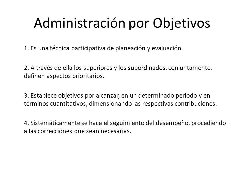 Administración por Objetivos 1. Es una técnica participativa de planeación y evaluación. 2. A través de ella los superiores y los subordinados, conjun