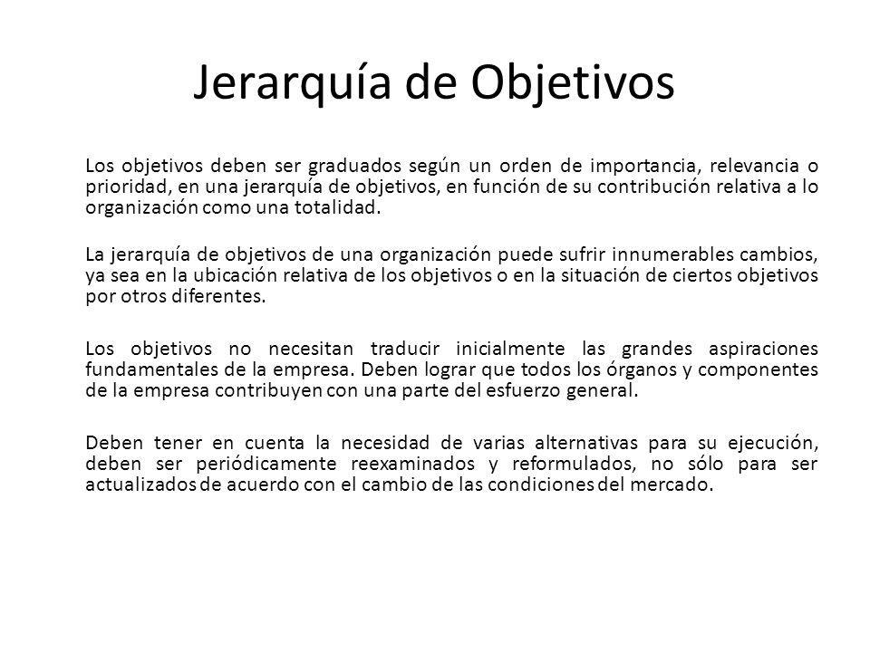 Jerarquía de Objetivos Los objetivos deben ser graduados según un orden de importancia, relevancia o prioridad, en una jerarquía de objetivos, en func
