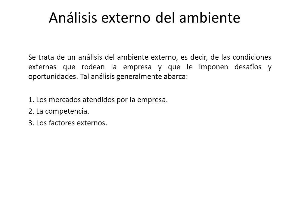 Análisis externo del ambiente Se trata de un análisis del ambiente externo, es decir, de las condiciones externas que rodean la empresa y que le impon