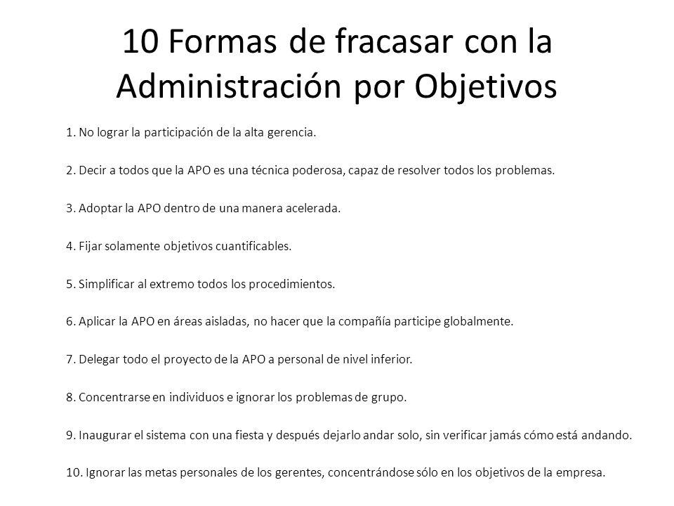 10 Formas de fracasar con la Administración por Objetivos 1. No lograr la participación de la alta gerencia. 2. Decir a todos que la APO es una técnic