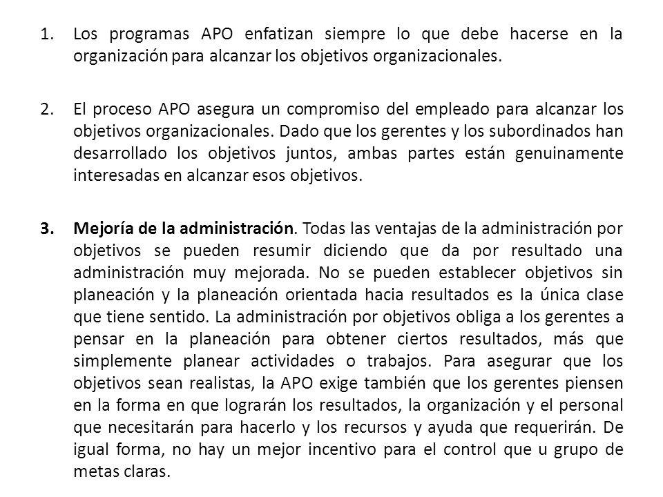 1.Los programas APO enfatizan siempre lo que debe hacerse en la organización para alcanzar los objetivos organizacionales. 2.El proceso APO asegura un