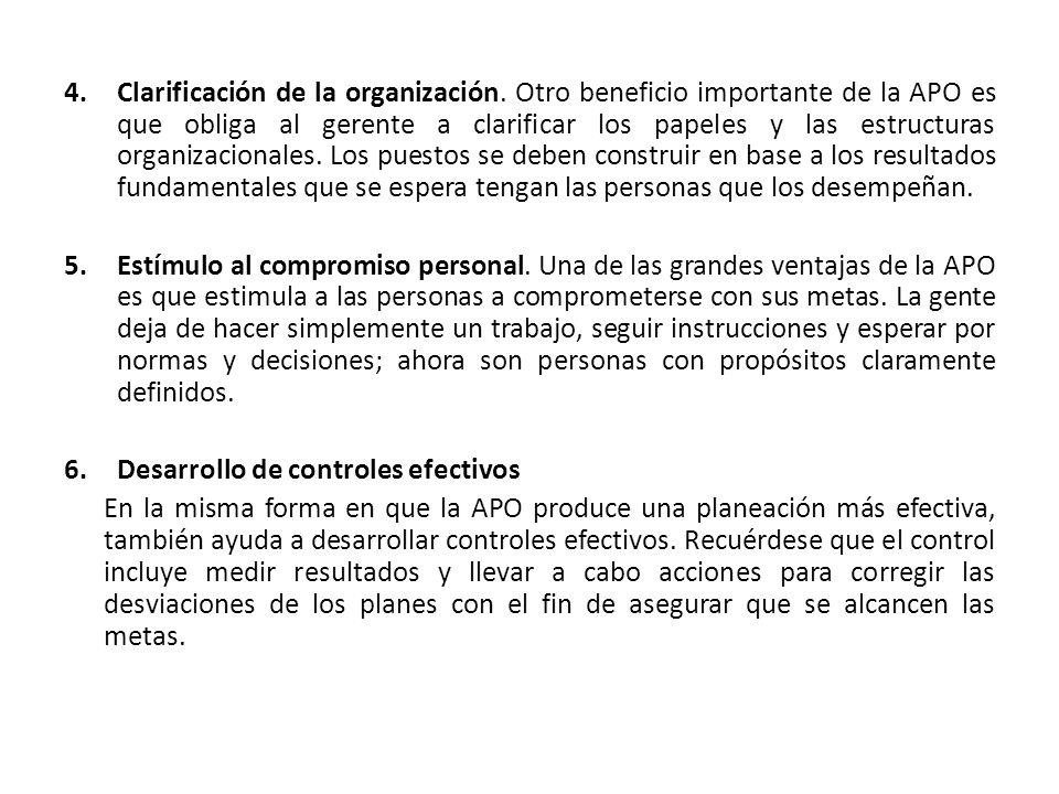 4.Clarificación de la organización. Otro beneficio importante de la APO es que obliga al gerente a clarificar los papeles y las estructuras organizaci
