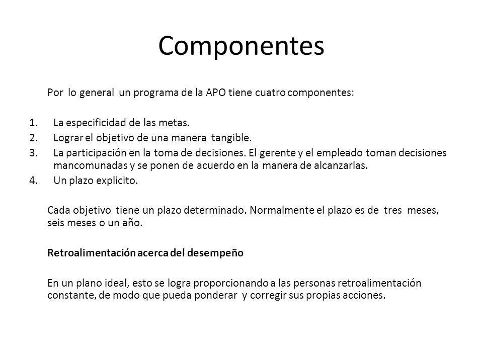 Componentes Por lo general un programa de la APO tiene cuatro componentes: 1.La especificidad de las metas. 2.Lograr el objetivo de una manera tangibl
