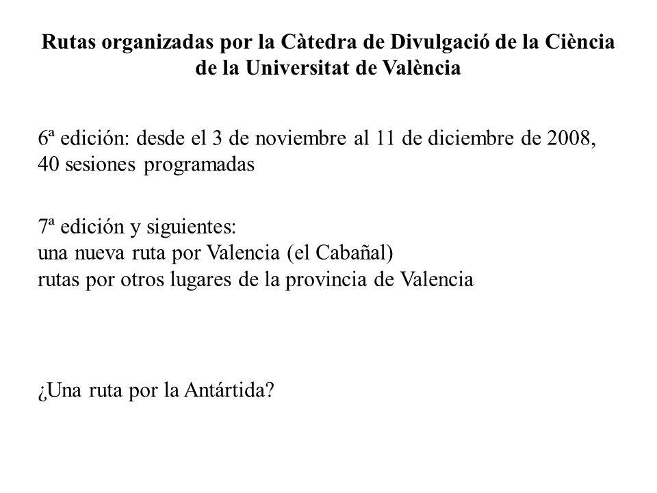 Rutas organizadas por la Càtedra de Divulgació de la Ciència de la Universitat de València 6ª edición: desde el 3 de noviembre al 11 de diciembre de 2