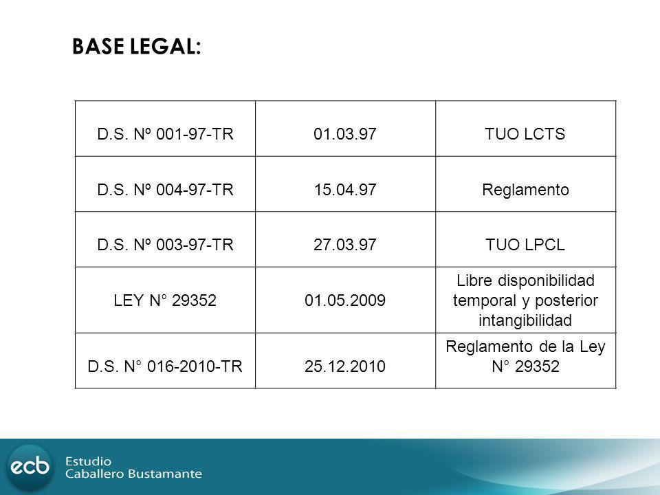 BASE LEGAL: D.S. Nº 001-97-TR01.03.97TUO LCTS D.S. Nº 004-97-TR15.04.97Reglamento D.S. Nº 003-97-TR27.03.97TUO LPCL LEY N° 2935201.05.2009 Libre dispo