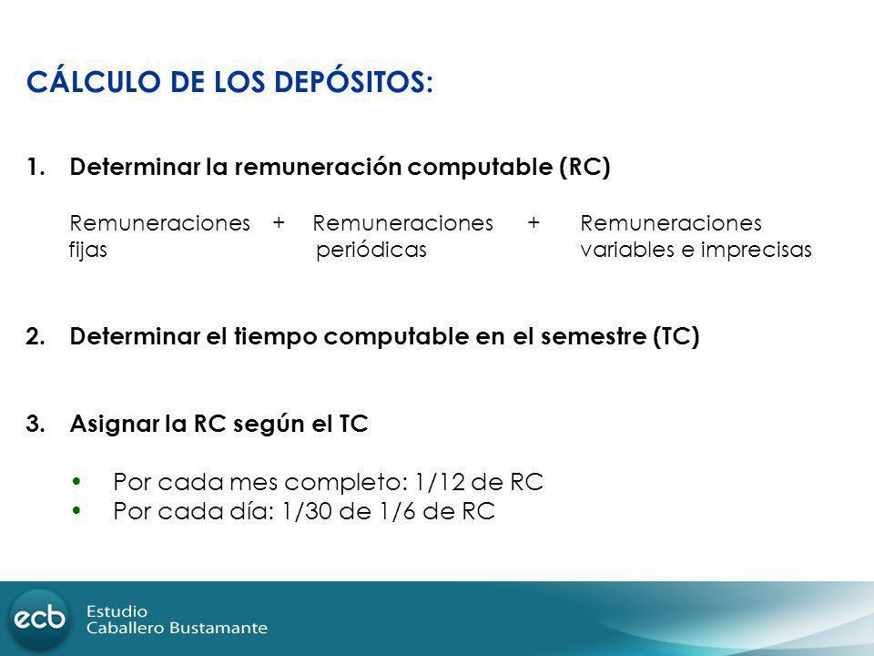 CÁLCULO DE LOS DEPÓSITOS: 1.Determinar la remuneración computable (RC) Remuneraciones + Remuneraciones + Remuneraciones fijas periódicas variables e i