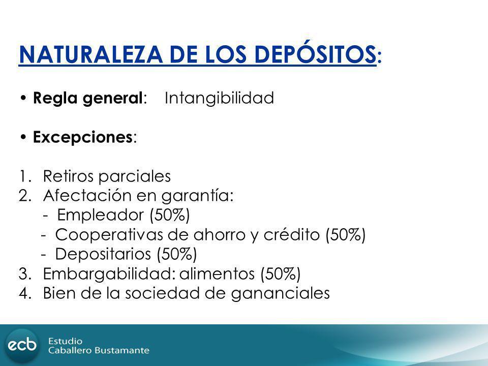 NATURALEZA DE LOS DEPÓSITOS : Regla general :Intangibilidad Excepciones : 1.Retiros parciales 2.Afectación en garantía: - Empleador (50%) - Cooperativ
