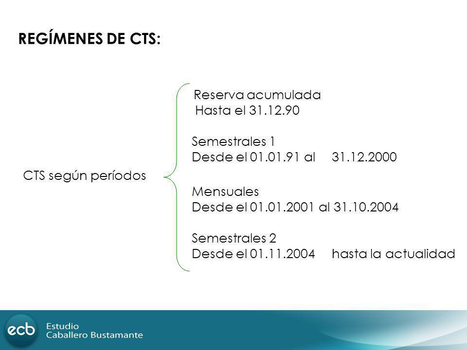 REGÍMENES DE CTS: Reserva acumulada Hasta el 31.12.90 Semestrales 1 Desde el 01.01.91 al 31.12.2000 CTS según períodos Mensuales Desde el 01.01.2001 a