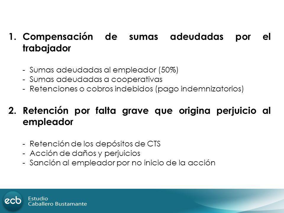 1.Compensación de sumas adeudadas por el trabajador - Sumas adeudadas al empleador (50%) - Sumas adeudadas a cooperativas - Retenciones o cobros indeb