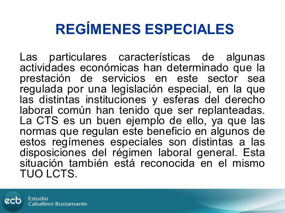 REGÍMENES ESPECIALES Las particulares características de algunas actividades económicas han determinado que la prestación de servicios en este sector