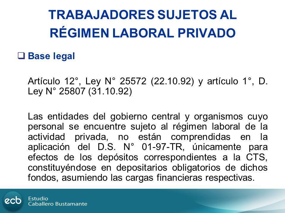 TRABAJADORES SUJETOS AL RÉGIMEN LABORAL PRIVADO Base legal Artículo 12°, Ley N° 25572 (22.10.92) y artículo 1°, D. Ley N° 25807 (31.10.92) Las entidad